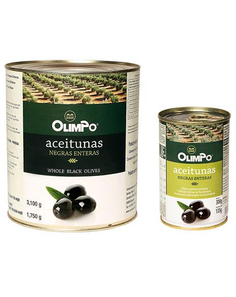 Aceitunas negras con hueso en lata Olimpo Albatece