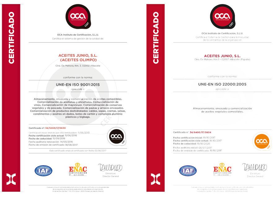 Garantía de calidad Certificados ISO Aceite de Olimpo